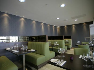 Fixed Banquette Restaurant Seating,Designed, Manufactured and Installed For 210 Bistro Aberdeen. Material: Lime Green Faux Leather. - See more at: http://www.sigcontracts.co.uk/bespoke/9.php