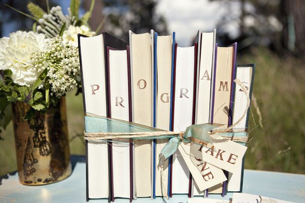 Although this is intended for weddings, this would also work as lovely display for memorial programs.