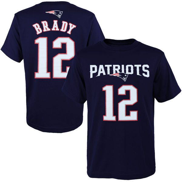 Youth Tom Brady New England Patriots Outerstuff Navy Blue HD Name and Number T-Shirt