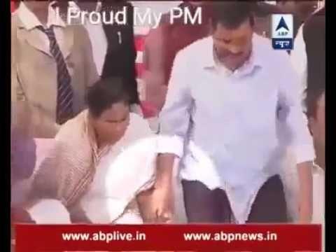 Mamata banerjee abuses arvind kejriwal by saying maa behen,awkward momen...