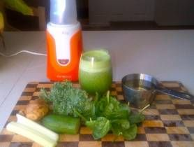 INGREDIENTS 1 cup pink lady apple juice 2 small stalks of celery chopped 1/2 small cucumber 1 handful mix of kale and baby spinach leaves 1 shaving of fresh ginger DIRECTIONS Place the juice, celery, cucumber, kale, spinach, and ginger into the large personal blending jug; securely seal the blade assembly inside the blending jug. Lock the blending ...
