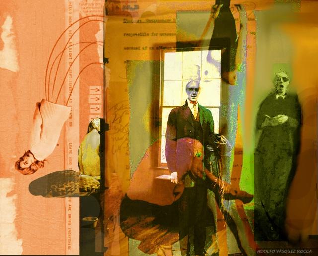"""arte          -       pintura   Obra: """"LA DESINHIBICIÓN PRIMARIA Y SUS ASESORES""""  Autor: ADOLFO VÁSQUEZ ROCCA  Técnica Mixta  Colección: La condición Posthumana  2013  EXPOSICIÓN DE PINTURA: LA CONDICIÓN POSTHUMANA _ ADOLFO VÁSQUEZ ROCCA"""