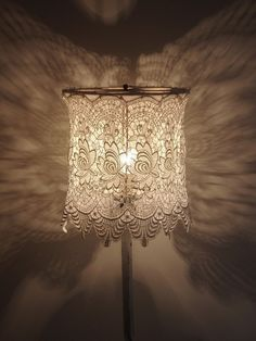 Lace applied to drum frame **********************************************I've looked everywhere.for a lamp chandelier , but im.liking the effect if ty his lace instead