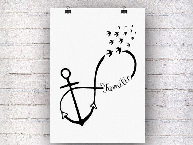 **Familie, Unendlichkeit und Liebe, alles ist in diesem schönen Anker festgehalten. Das maritime Motiv ist wunderschön und hält alles fest, was im Leben wichtig ist.**  ★ Der Anker-Kunstdruck...