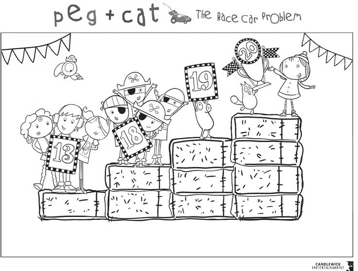 peg cat the race car problem coloring sheet