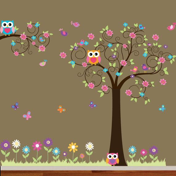 Swirl Tree and branch set with leavesflowers by wallartdesign, $175.00