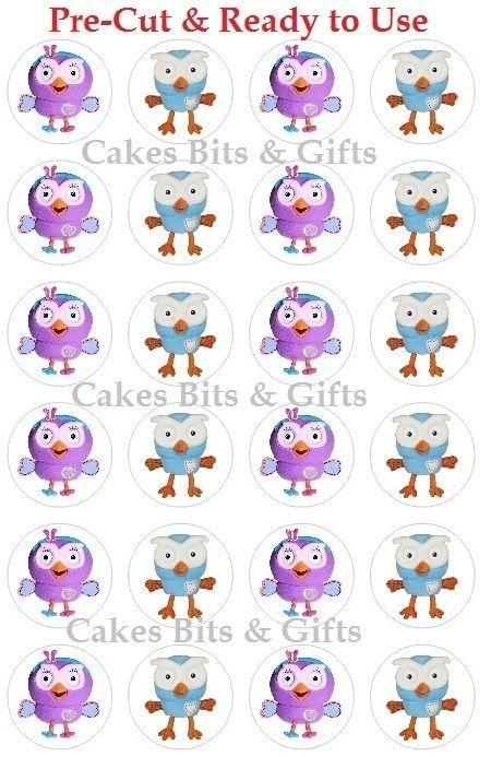 24x HOOT & HOOTABELLE Edible Wafer Cupcake Cake Toppers Giggles & Hoot Pre Cut