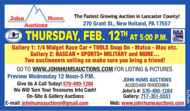 Thursday, February 12th @ 5pm #tools #snapon #fishing #1/4midgetcar #nascardiecast #military #vintagesports #sports