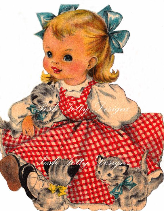 A Little Girl and Her Kittens 1940s Vintage