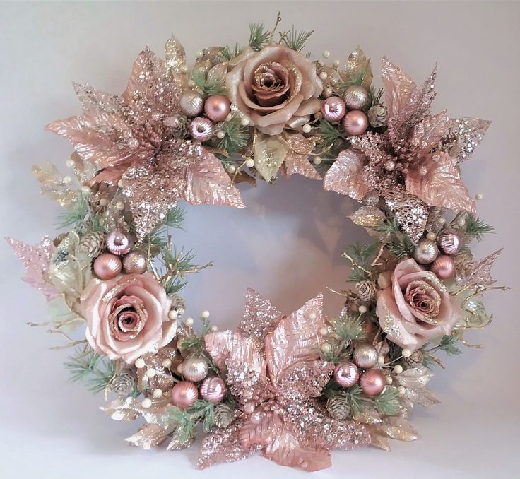 Rose Gold Blush Pink Champagne Christmas Wreath W/ Roses