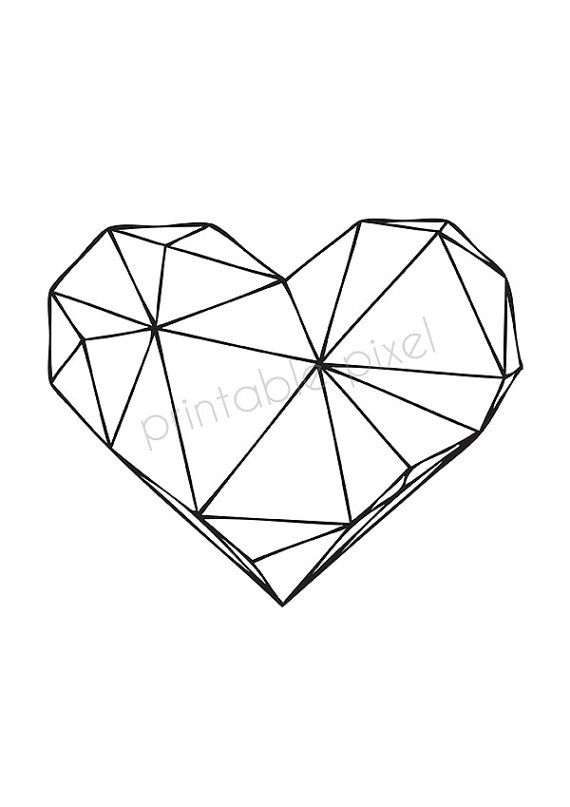 Black on White Heart Geometric Art Scandinavian par PrintablePixel