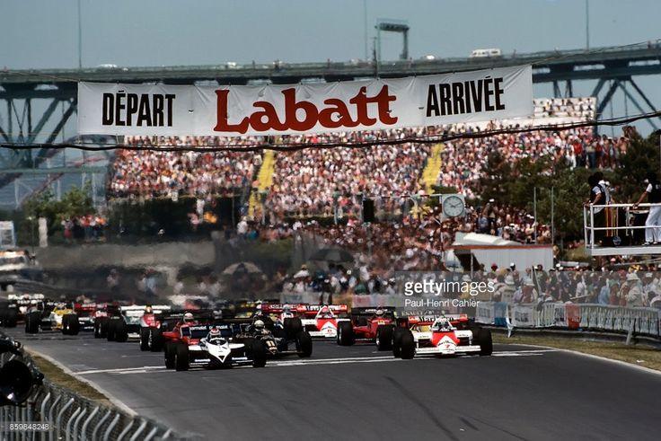 Nelson Piquet, Alain Prost, Brabham-BMW BT53, McLaren-TAG MP4/2, Grand Prix of Canada, Circuit Gilles Villeneuve, June 17, 1984. Start of the 1984 Grand Prix of Canada in Montreal.