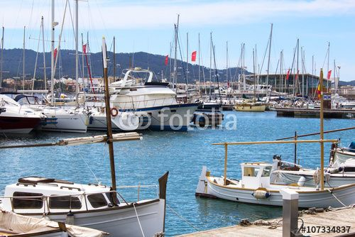 Landscape of port with boats and yachts on the tropical island