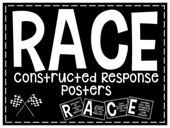 Teach your students to answer constructed-response questions with the RACE strategy. Restate AnswerCiteExplain Just print and laminate.  Print on color paper to add interest.  Use your printer to resize the posters to fit your needs.