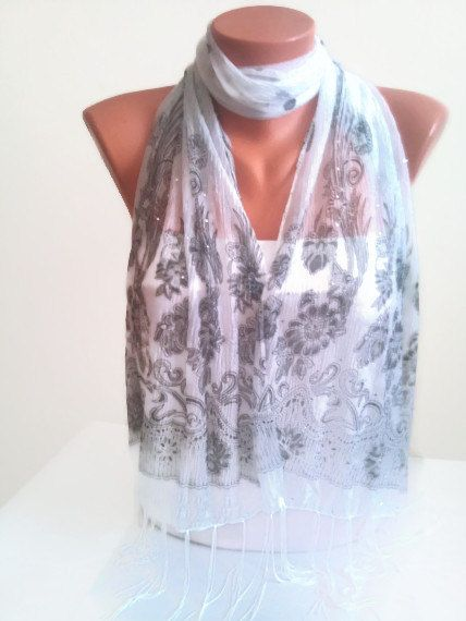 White scarf with Crystals White and Black scarf by TrendyScarf, $9.99