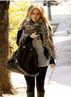 Get the Look: Hilary Duff: Big Earrings, Big Scarfs, Fall Style, Tall Boots, Fall Wint, Big Scarves, Hilarious Duff, Fall Outfits, Big Bags