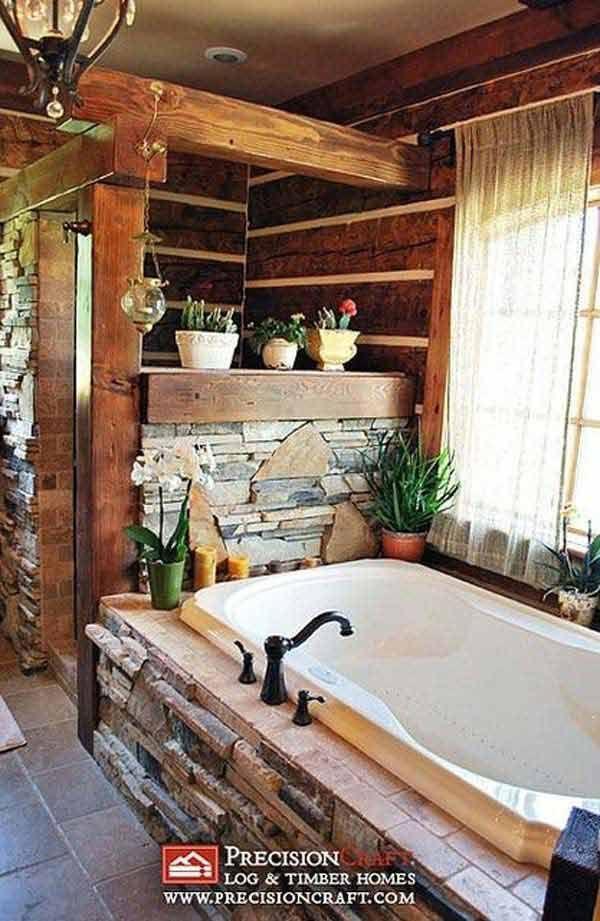 Cabin Bathroom Ideas Part - 18: 30 Inspiring Rustic Bathroom Ideas For Cozy Home | Interior Design  Inspirations And Articles