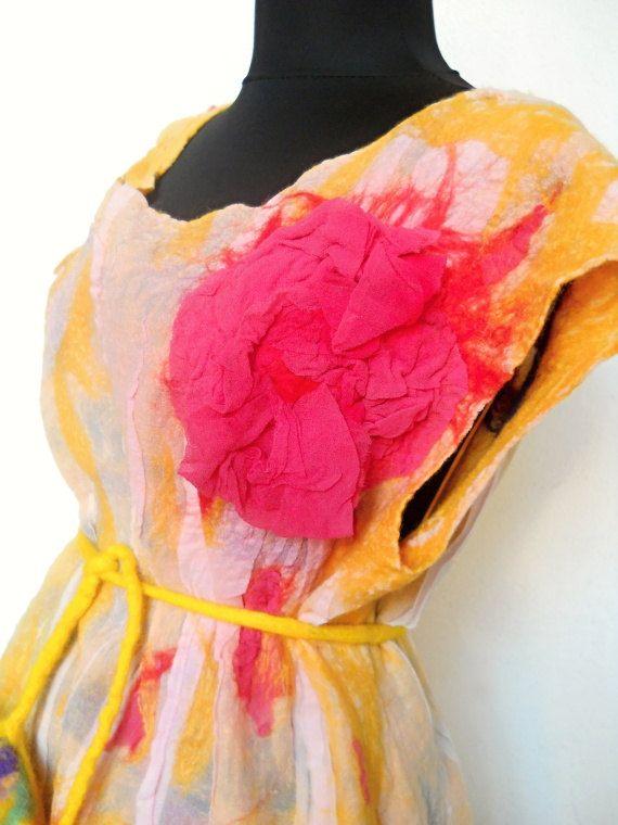 Silk Dress  Elven Woodland Festival Eco Clothing by FeltNunoFelted, $135.00