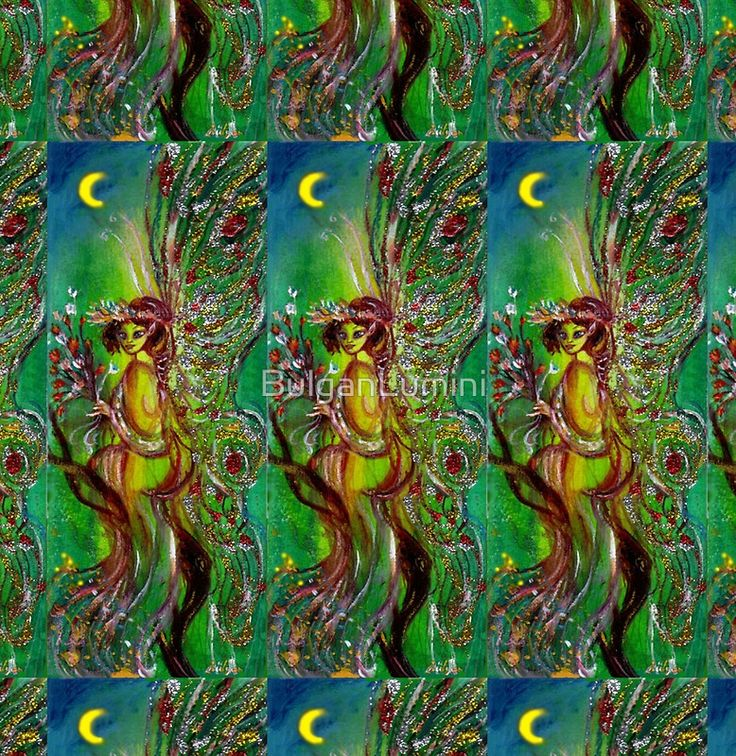 GREEN FAIRY WITH GOLD SILVER SPARKLES IN MOONLIGHT Woman Chiffon Top by Bulgan Lumini (c) #fantasy #beauty #fashion #fineart #fairies #moon