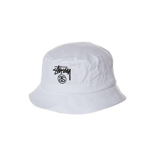 STUSSY BASIC BUCKET HAT WHITE (£24) ❤ liked on Polyvore featuring accessories, hats, bucket hats, headwear, white bucket hat, stussy, fisherman hat, bucket hat and fishing hat