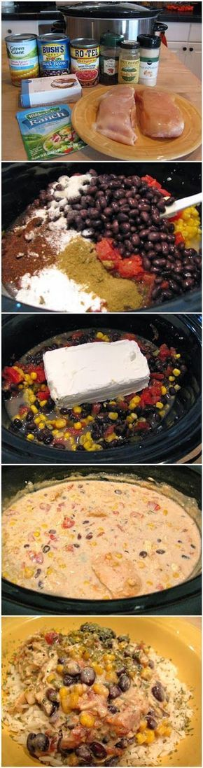 This stuff is soo good to eat on it's own, or with tortilla chips. You can't go wrong with this cheesy Mexican inspired chili recipe. Serve over steamed rice with chopped cilantro. You'll Need: 2 chicken breasts, still frozen 1 can Rotel tomatoes 1 can corn kernels, do not drain 1 can black beans, drained …
