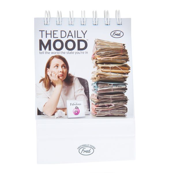 The Daily Mood - Great desk accessory that comes with 47 moods, each of them with their own smiley (or not) face, a silly definition, a fascinating fact, and a sample sentence.  Available at SHOPBLUEHORSE.COM #desk #office #mood #accessory