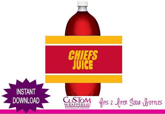 INSTANT DOWNLOAD - Football Soda Bottle Label - Chiefs