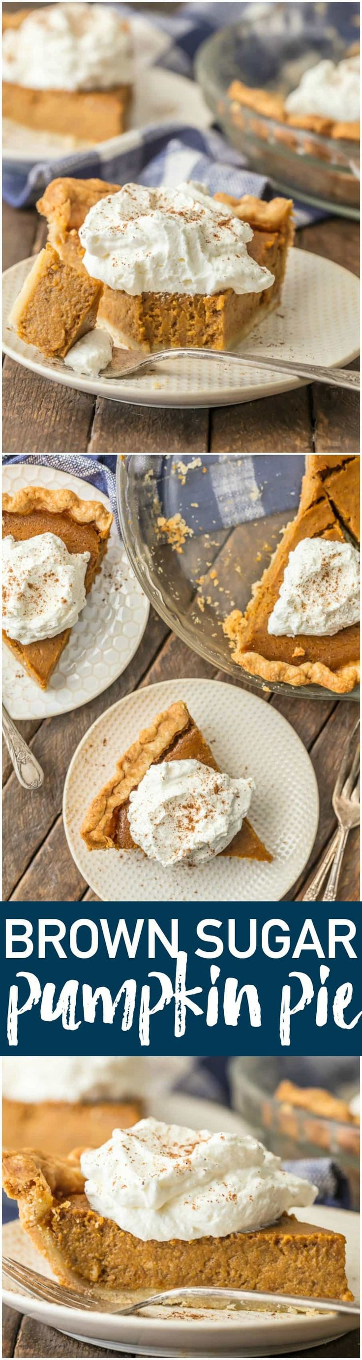 Elevate a classic with BROWN SUGAR PUMPKIN PIE! Utterly delicious and just begging to be the star of your Thanksgiving menu. Favorite pie EVER. #thanksgiving #pumpkinpie #easyrecipe via @beckygallhardin