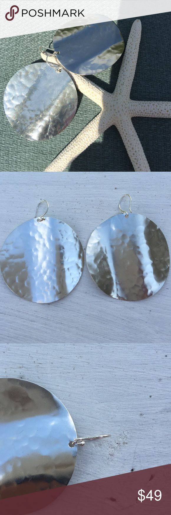 Silpada earrings Large  Silpada hammered  sterling silver earrings with French wire. Great condition! Silpada Jewelry Earrings