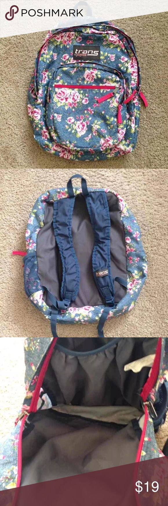 Floral Jansport Backpack Stylish and durable! Good condition. The straps are a bit scrunched up but will straighten with use. Great if you are a student with a heavy load! Jansport Bags Backpacks