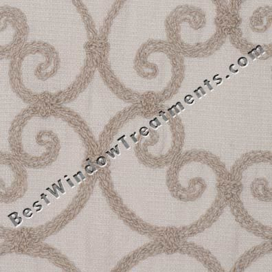elaine curtain panel slubbed scroll pattern on linen style fabric in sand or light taupe
