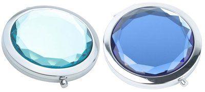 Luxe Make-up spiegel met 2 soorten spiegels in handformaat. Verkrijgbaar in de kleuren koningsblauw of wit/transparant