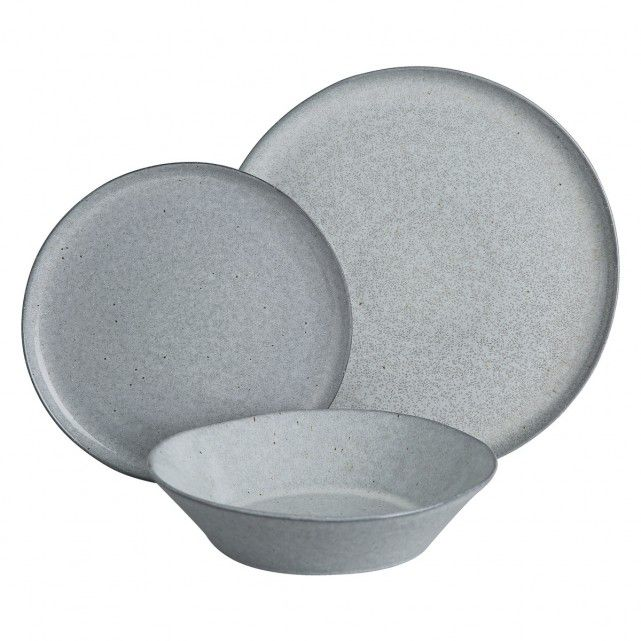 The Maddox 12-piece dinnerware set has a soft grey reactive glaze that gives it distinctive 'salt and pepper' speckles.[br]Made in Portugal from stoneware and exclusive to Habitat, the set is suitable for everyday use and, due to the nature of the glaze, each piece is unique.[br]The Maddox set comprises 4 dinner plates, 4 side plates and 4 pasta bowls, which are also available individually and in blue, together with a mug.