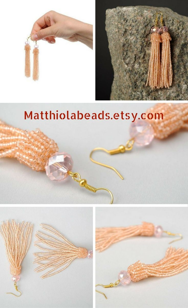 This is a very fashionable beaded earrings long. These peach earrings are Long Tassel beaded. These tassel beaded earrings can be made in different colors. It can be Tassel earrings Blue, Tassel earrings Black or tassel earrings red. Also we can make tassel earrings boho of other colors. Such boho earrings pink are a good gift for girlfriend ideas. Also these Bead earrings pink are suitable for a gift for sister in law. Fashion earrings made of czech seed beads, glass beads, metal fittings.