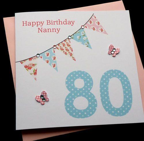 Bunting Handmade Personalised Birthday Card 30th 40th 50th 60th 70th 80th 90th