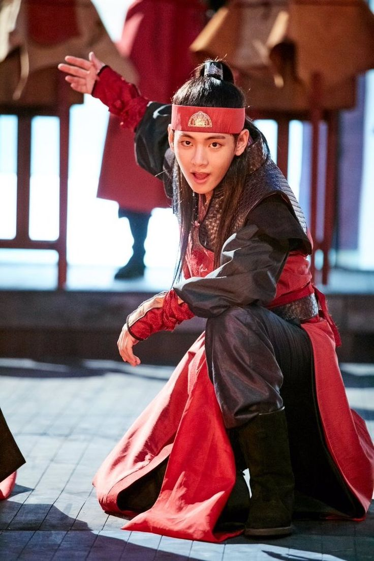 Taehyung in a drama called Hwarang. Can I just say he looks SO FREAKING GOOD IN RED OMG