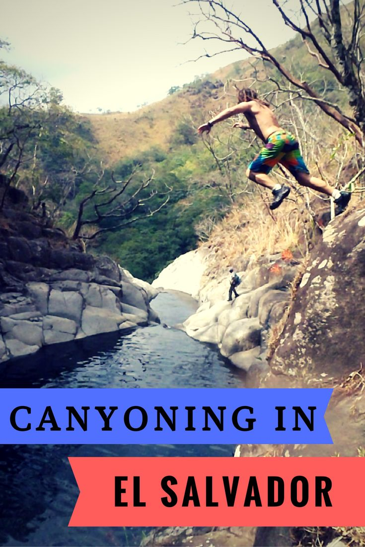 Go canyonning in El Salvador. You'll love it. Put it on your list of things to do in El Salvador. Don't  miss this off your list of things to do in Central America. Jumping off waterfalls from 5m to 10m high. #waterfall #elsalvador #canyoning #centralamerica