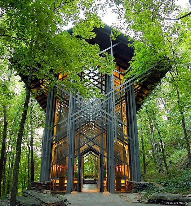 ARCHITECT: E. Fay Jones ~ Thorncrown Chapel, Eureka Springs, Arkansas, designed  and constructed in 1980. The design recalls the Prairie School of architecture popularized by Frank Lloyd Wright, with whom Jones had apprenticed