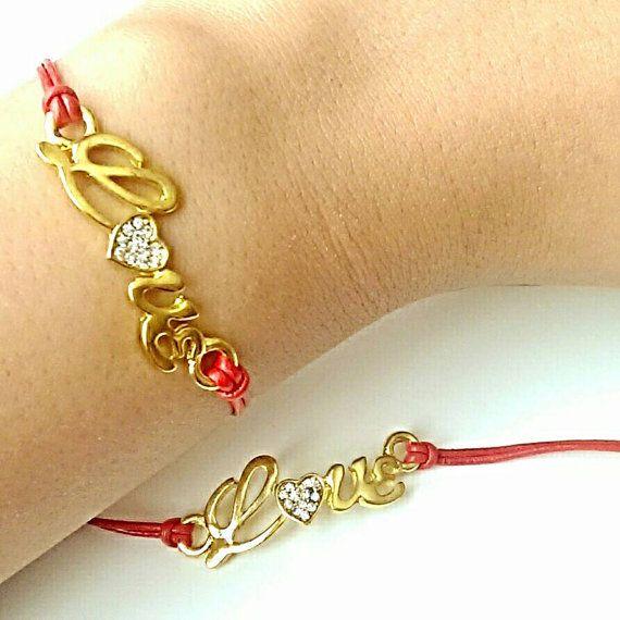 Leather Charm Pulsera con oro y diamantes de imitación del amor del corazón del encanto en rojo brillante cordón de cuero