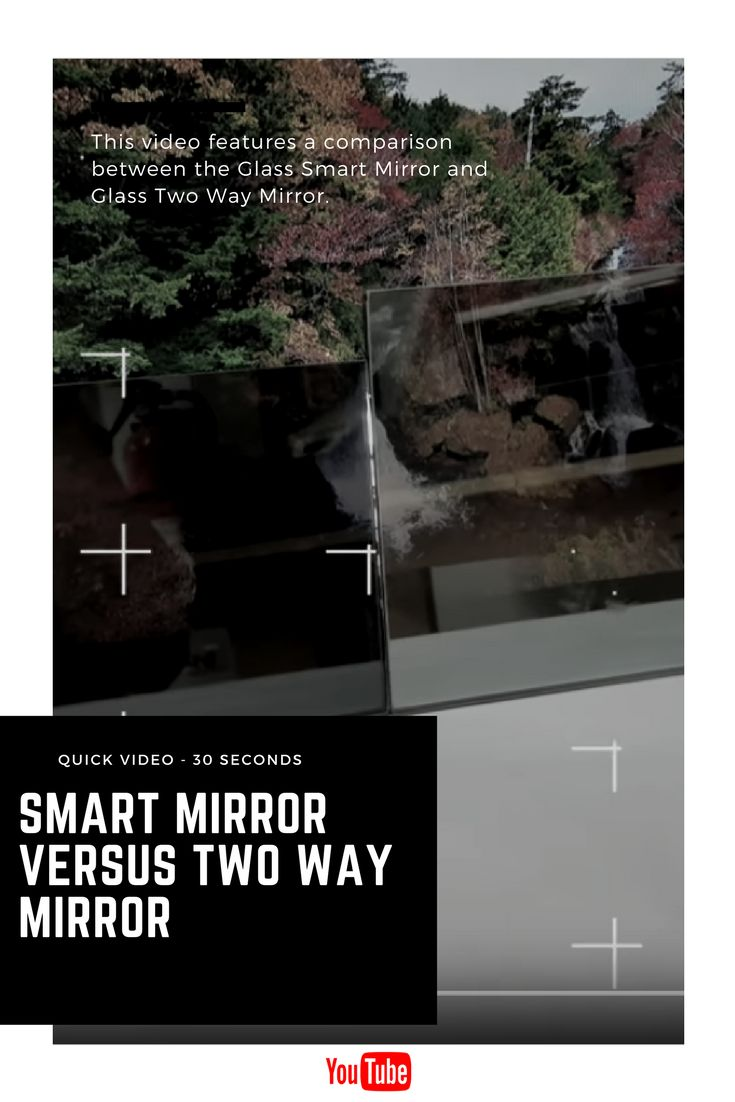 The Glass Smart Mirror versus Two Way Mirror video features both mirror types in front of a TV screen so you can see the display quality differences and reflection. #twoway #mirror #smartmirror #tvmirror #bathroommirrors #decor