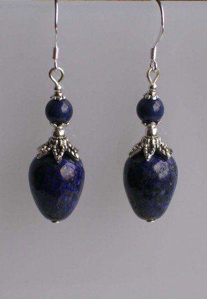 Prachtige oorbellen: dikke Lapis lazuli druppels en kralen - Diemen - Noord-Holland