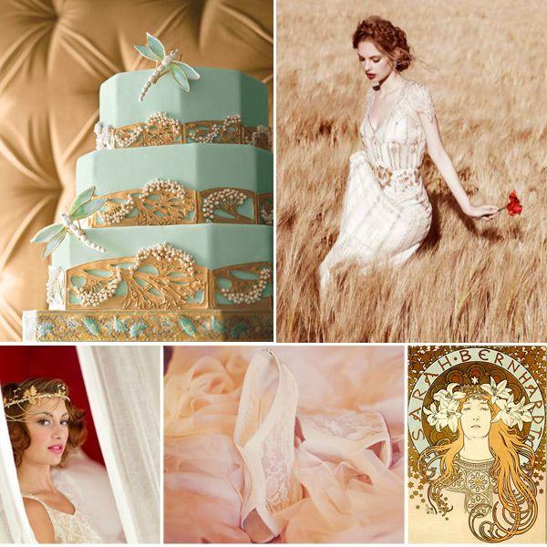 art nouveau gold blush wedding ideas
