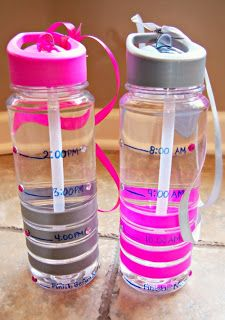 2 Water bottles marked, one bottle from 8am-12pm and the other from 12-bed 10ish. By each marked time there should be the amount of water gone!