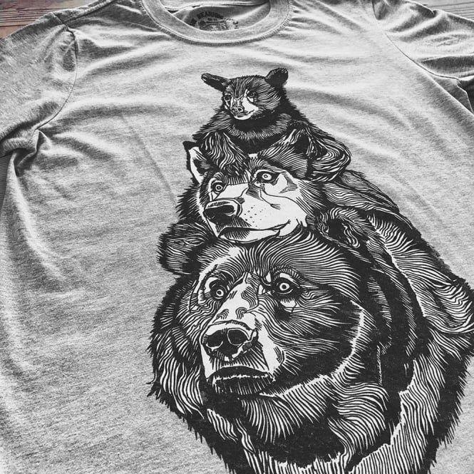 Bear Wolf Bear - Heather Grey T-Shirt