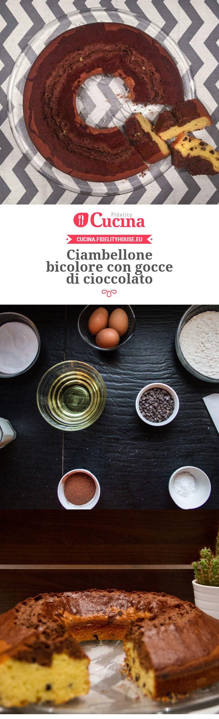 Ciambellone bicolore con gocce di #cioccolato della nostra utente Fabiola. Unisciti alla nostra Community ed invia le tue ricette!