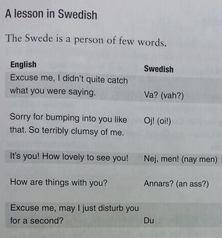 A lesson in Swedish.... This is from the book: Sweden - The Secret Files by Communications expert Colin Moon. lol