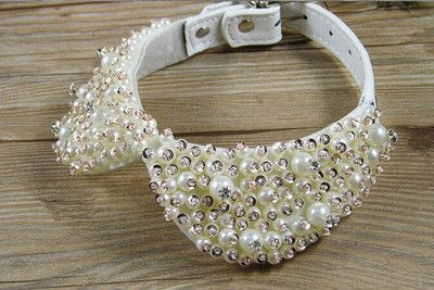 Fashion Pearl Rhinestone Crystal Necklace for Pet Cat Collar Dog Queen Luxury Collar Princess Pet Pearl Necklace Bow Tie                                                                                                                                                                                 More