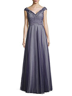 Kay Unger Pleated Tulle and Lace Gown