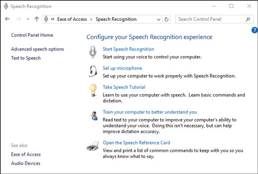 Speech Recognition settings in Control Panel