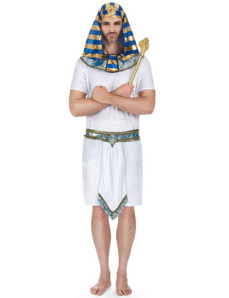 Disfraz de faraón para hombre: Disfraz de faraón compuesto por una túnica de imitación de terciopelo y un gorro real como el del famoso Tutankamón. También incluye un cuello y un cinturón...